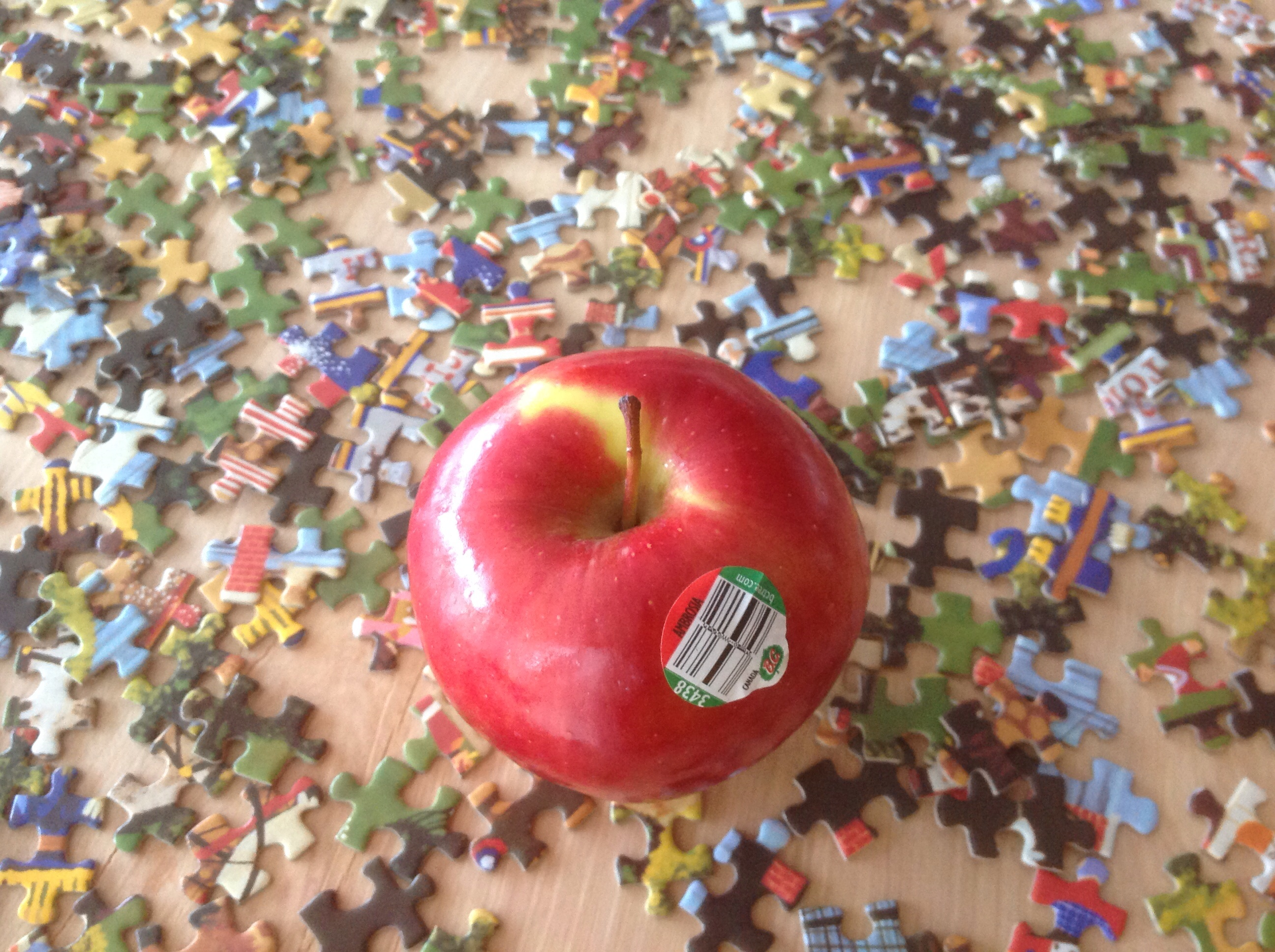 puzzling with apples